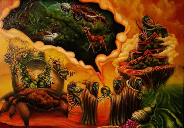"""The Conversation,"" 2010, oil on canvas, 18 x 20 in.bySamuel Velasquez."