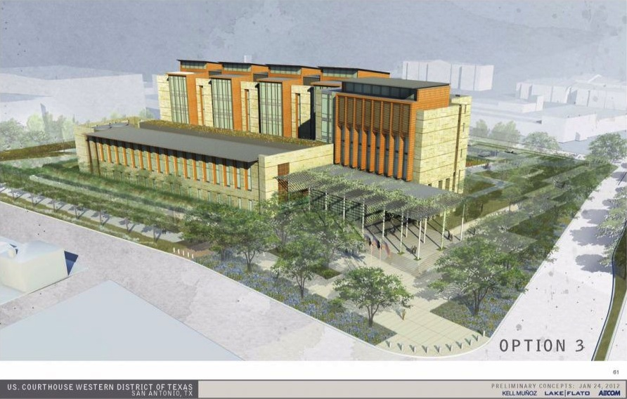 Conceptual rendering of the $135 million San Antonio Federal Courthouse project . Image courtesy of Lake/Flato Architects.