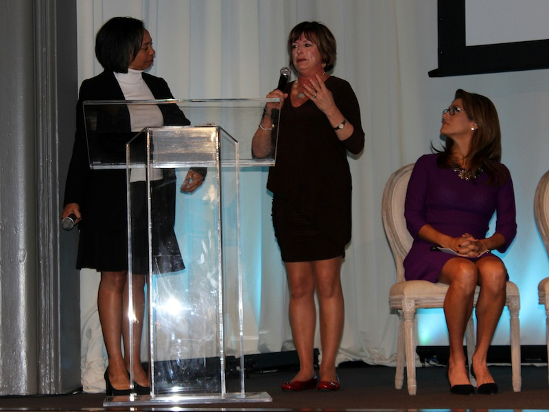 The 2015 Toyota Mother of Invention Maria Dellapina, founder of Specs4Us, give thanks to the panelists and attendees. Photo by Iris Gonzalez.
