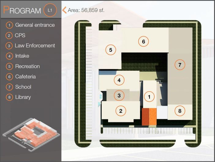 Layout of the first floor of the proposed Alamo Youth Center. UTSA College of Architecture, Construction and Planning.