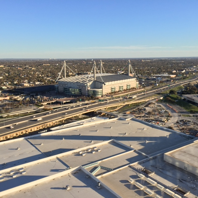 Aerial view of the Alamodome and San Antonio's Eastside, as seen from atop the Grand Hyatt/The Alteza. Photo by Kenric Ward.