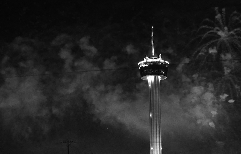 Smoke from the grand finale firework display on Jan. 1, 2014 lingers in the air around the Tower of the Americas. Photo by Iris Dimmick.