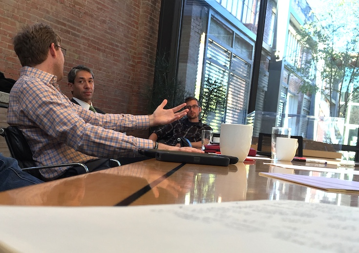 Councilman Nirenberg and Russell Yeager of Big Red Dog discuss annexation as at a November brainstorming session at Overland Partners. Photo by Nicolas Rivard.