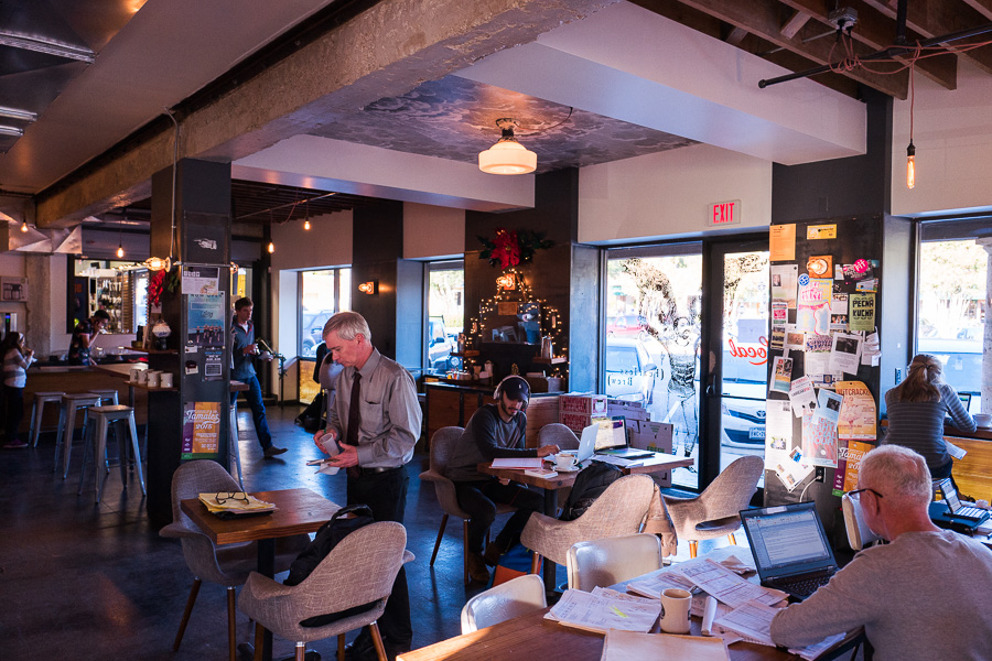 Customers fill the space of Local Coffee in Alamo Heights. Photo by Scott Ball.