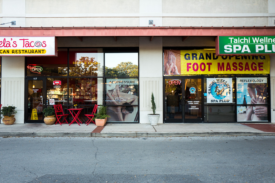 A strip center in Alamo Heights hosts small business's of a large variety. Photo by Scott Ball.