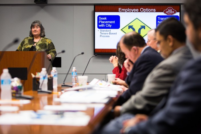 San Antonio Human Resources Director Lori Steward explains how government employees would transition if the CVB were to become an independent organization. Photo by Scott Ball.
