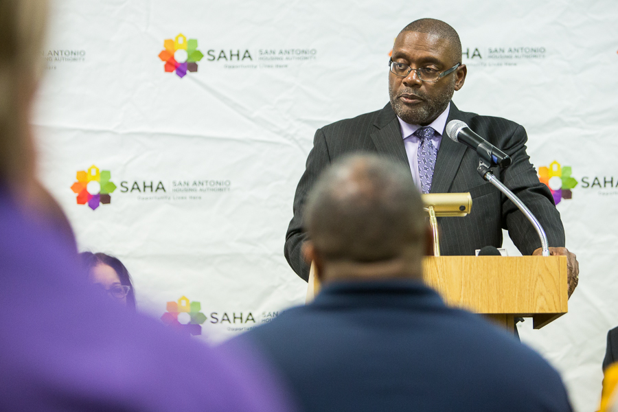 Chairman of the SAHA Board of Commissioners Dr. Morris Stribling speaks during the event. Photo by Scott Ball.