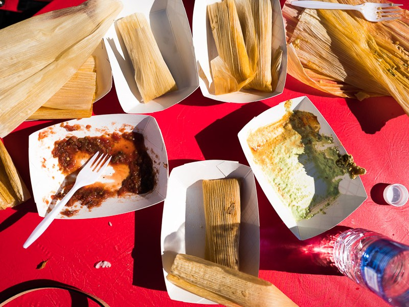 A table after tamale experience. Photo by Scott Ball.