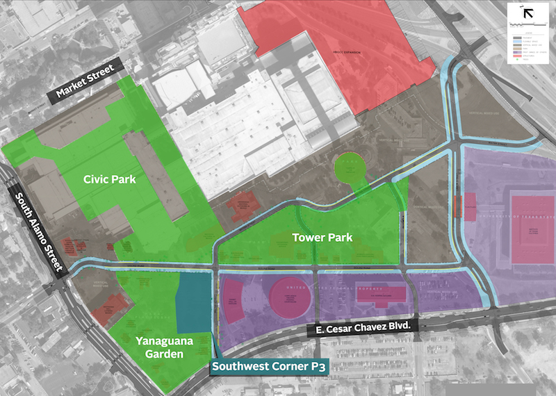 An overhead map outlining the footprint of the project. Image courtesy of Hemisfair.