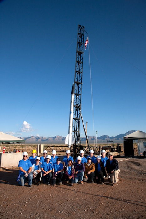 Alamo Heights High School rocketry students gather around their rocket at White Sands Missile Range. Courtesy image.