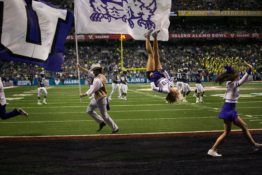 Despite trailing Oregon 31–0 at halftime, the TCU Horned Frogs rallied to match one of the largest comebacks in bowl-game history and force overtime, winning 47–41. Photo by Kathryn Boyd-Batstone.