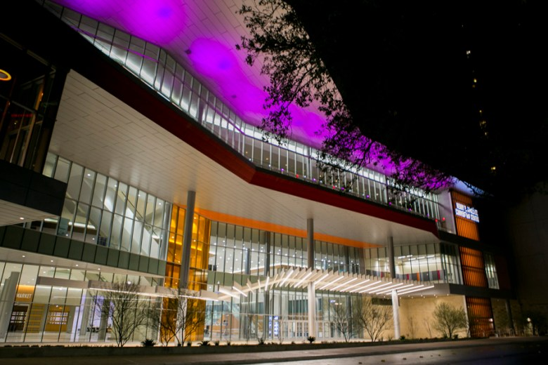 The Henry B. Gonzalez Convention Center lights up Market Street. Photo by Kathryn Boyd-Batstone.