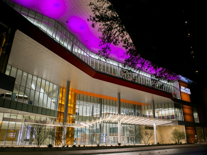 The Henry B. Gonzalez Convention Center lights up Market Street. Photo by Kathryn Boyd-Batstone.