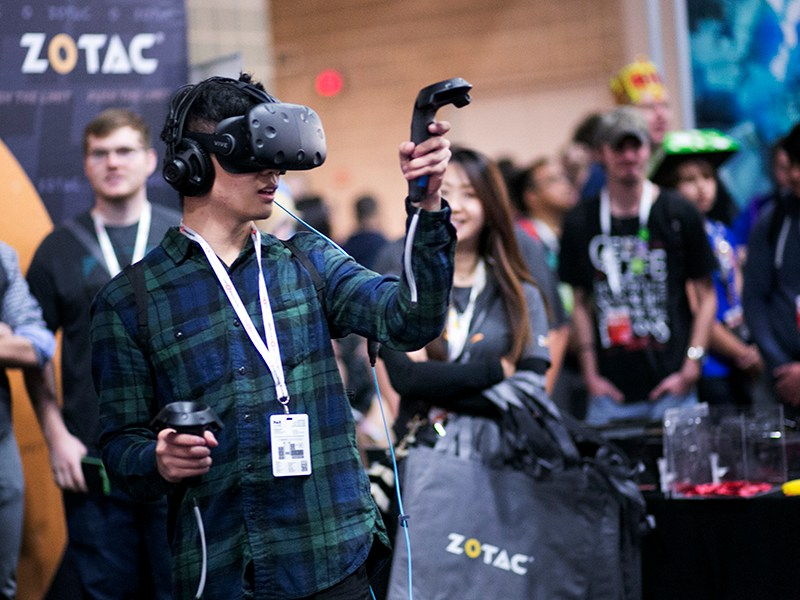 Zotac brought immersive virtual reality experience technology to PAX South. Photo by Kathryn Boyd-Batstone