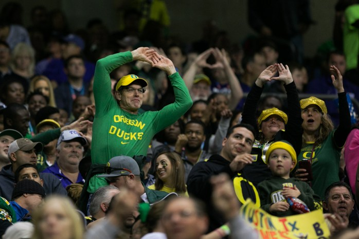 For the last third of the game it looked as though the Oregon Ducks were the clear winners with a score of 31-17. Photo by Kathryn Boyd-Batstone.