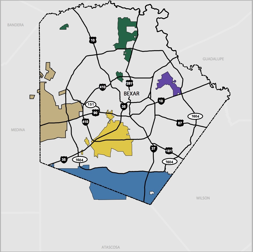 Bexar Metropolitan Water District service map.