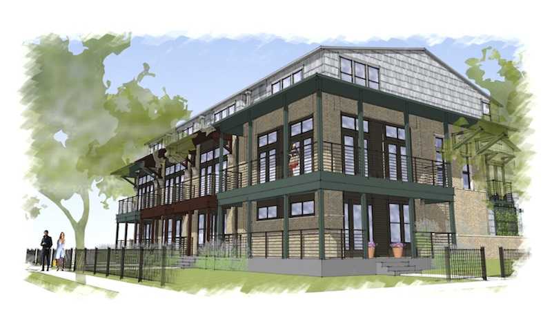 A rendering of the 10-unit structure part of the Cedar Street townhome project looking northeast. Courtesy of Alamo Architects.