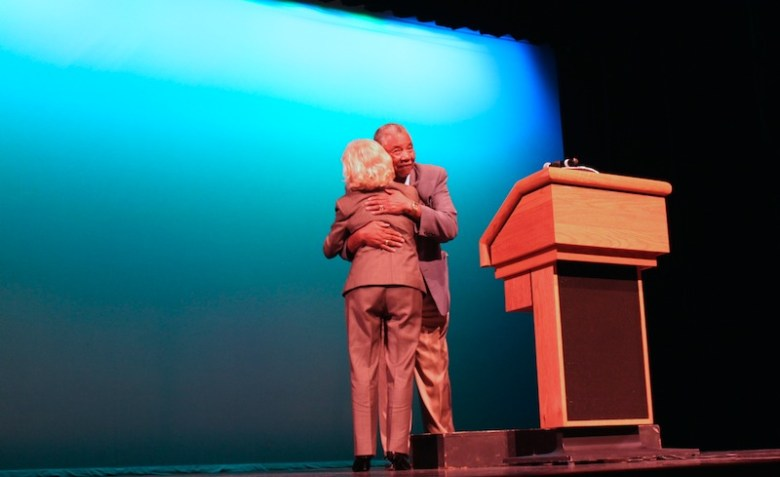 Local civil rights advocate Charles Williams introduces Peggy Wallace Kennedy. Photo by Katie Walsh.