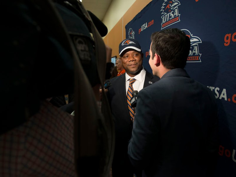 Newly announced UTSA Football Coach Frank Wilson answers questions during an interview. Photo by Mark McClendon, courtesy of UTSA.