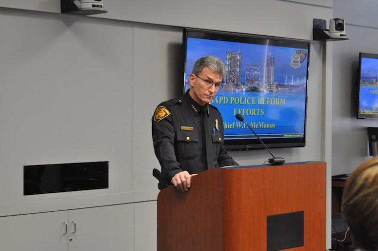 Chief William McManus discusses SAPD reform. Photo by Lea Thompson.