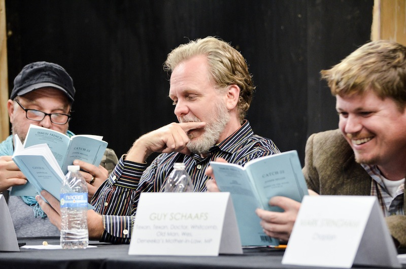 (From left) Rick Frederick, Andrew Thorton, and Guy Schaffs participate in the first Playhouse Potentials reading in December 2015. Photo courtesy of The Playhouse.