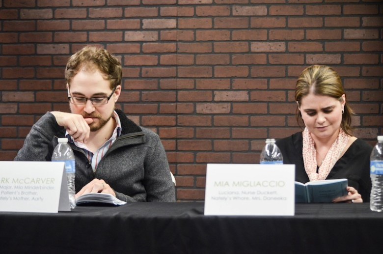 Mark McCarver and Mia Migliaccio participate in the first Playhouse Potentials reading in December 2015. Photo courtesy Andrea Medina.