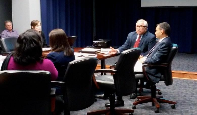 Mario Hernandez, San Antonio Economic Development Foundation president (right), addresses the City Council's Economic and Human Development Committee on Tuesday, Jan. 5, 2016. Photo by Edmond Ortiz