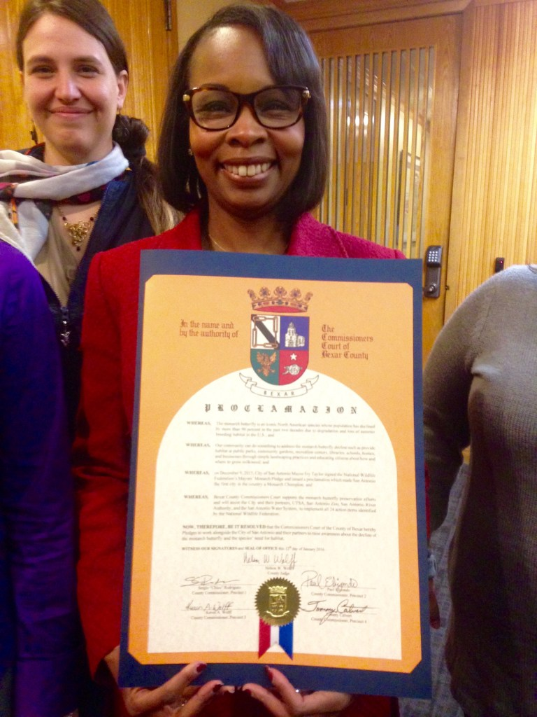 Mayor Ivy Taylor displays the proclamation supporting her NWF Pledge to increase pollinator habitat.  Photo by Monika Maeckle