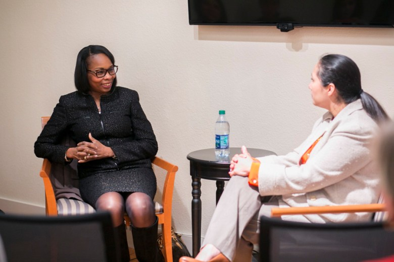 Mayor Ivy Taylor sat down with Workery founder Mari Aguirre-Rodriguez as part of a monthly series focusing on discussions about leadership challenges. Photo by Kathryn Boyd-Batstone