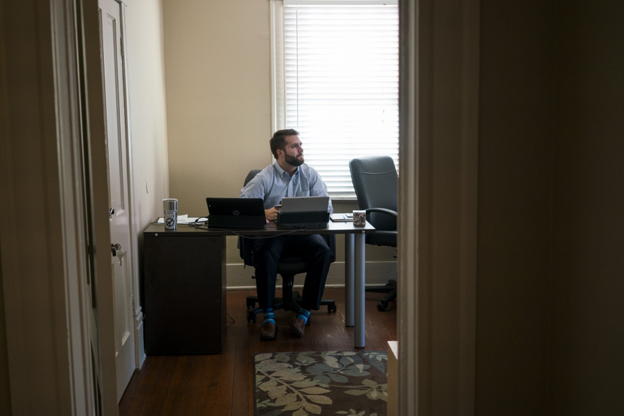 Doug Dawson, who works for Choose to Succeed, used to work from coffee shops, but now has a permanent desk at Workery. Photo by Kathryn Boyd-Batstone