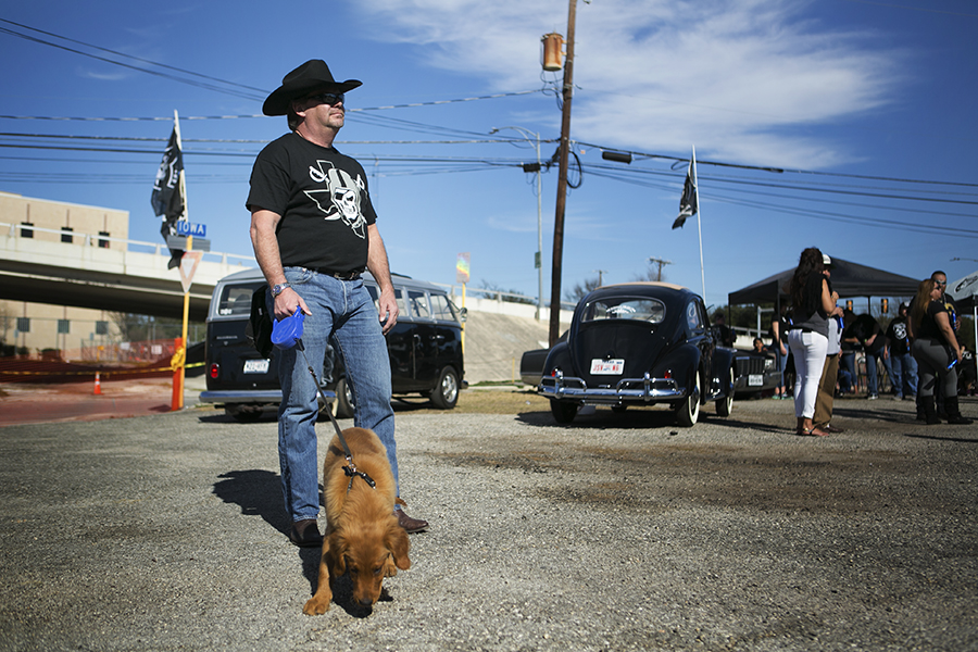 Tim Stunz drove from Austin to attend the Raiders rally. Photo by Kathryn Boyd-Batstone