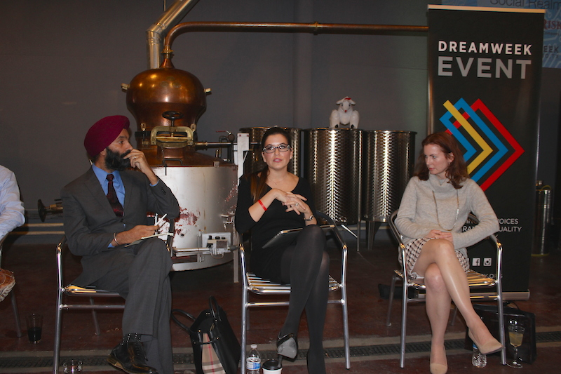 From left: Bestica President Harvinder Singh, TechBloc Executive Director Marina Gavito, and Debra Innocenti, Internet & Technology attorney at Strasburger & Price LLP, take part in a cybersecurity panel discussion. Photo by Iris Gonzalez.