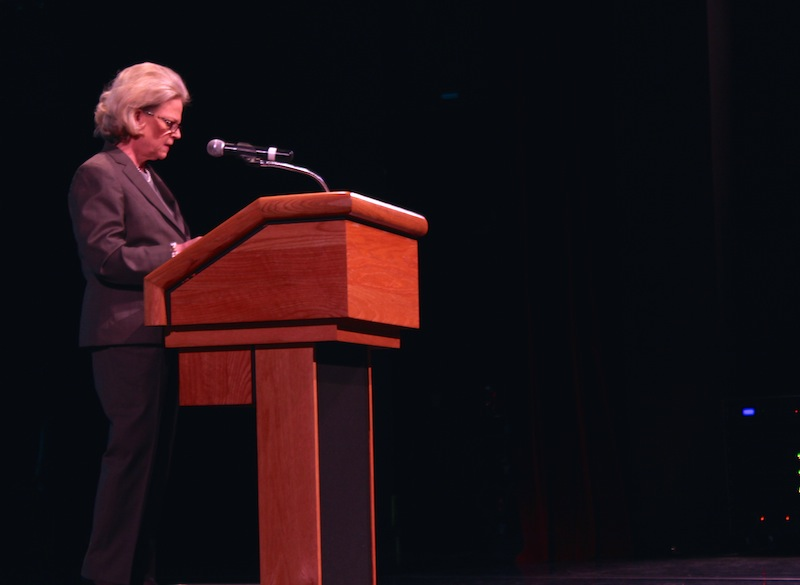 Peggy Wallace Kennedy speaks to the audience at the Carver Community Cultural Center. Photo by Katie Walsh.