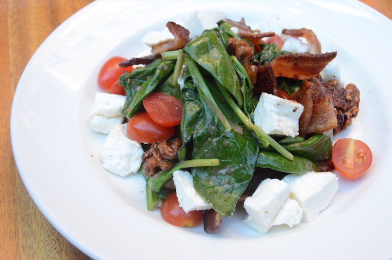 Warmed spinach salad at Zinc WIne & Bar. Photo by Lea Thompson.