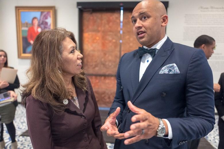 President of Texas A&M University - San Antonio Dr. Cynthia Teniente-Matson speaks with Councilman Alan Warrick (D2) following the announcement. Photo by Scott Ball.