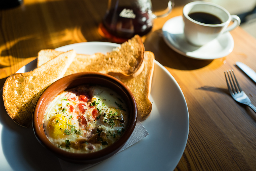 Baked eggs with toast from Rosella Coffee. Photo by Scott Ball.
