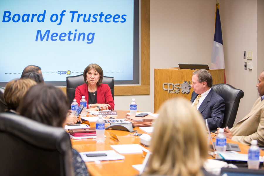 Outgoing CPS Energy board Chair Nora Chavez bids farewell to her colleagues. Photo by Scott Ball.