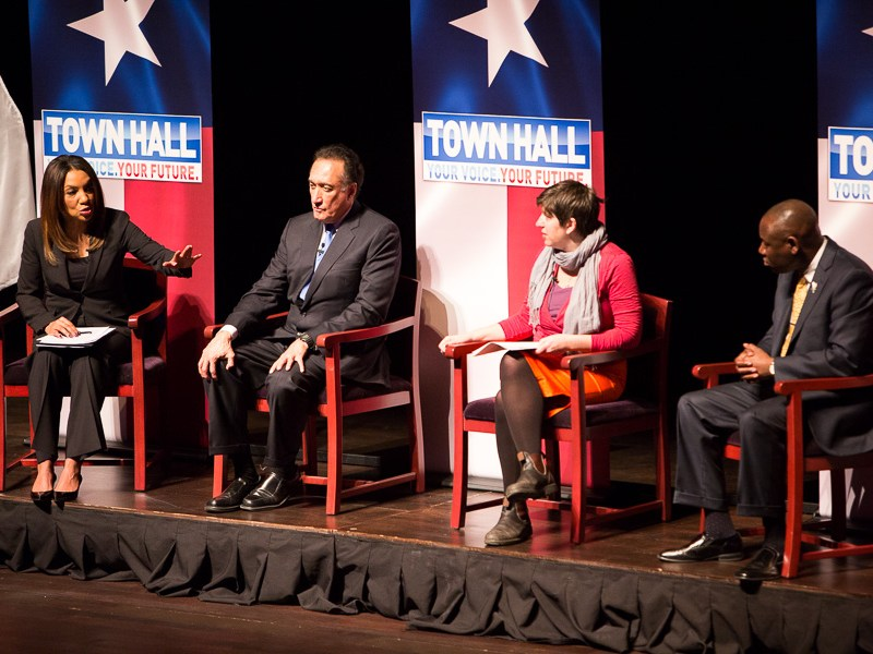 The panel discusses nonviolent social change. Photo by Scott Ball.