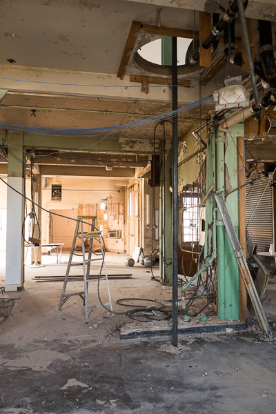Renovation and construction is underway inside the former Fire Station No. 7. Photo by Scott Ball.