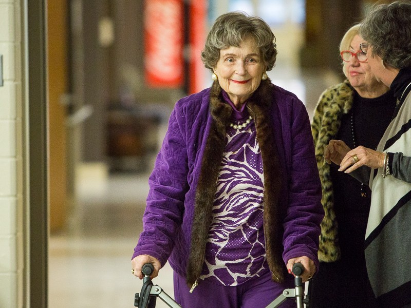 Former mayor Lila Cockrell arrives to the SAISD board meeting. Photo by Scott Ball.