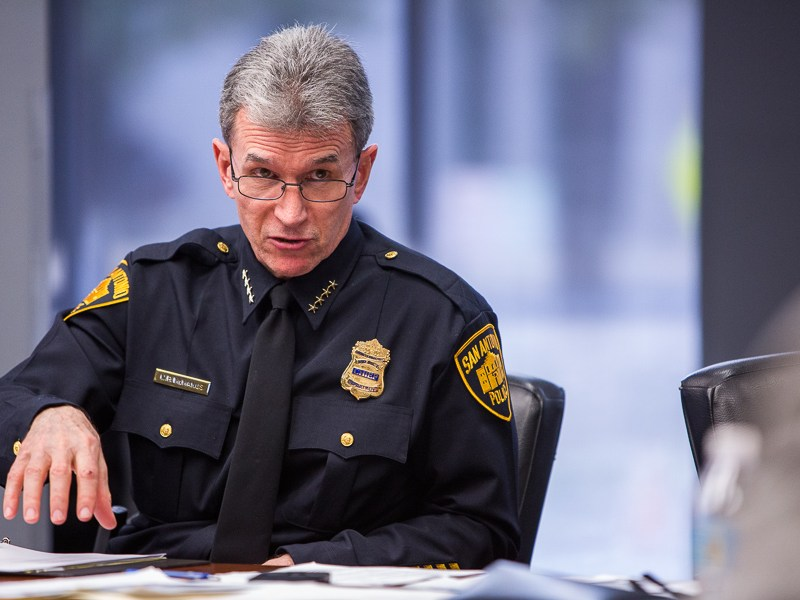 San Antonio Police Department Chief of Police William McManus speaks with Councilwoman Rebecca Viagran (D3). Photo by Scott Ball.