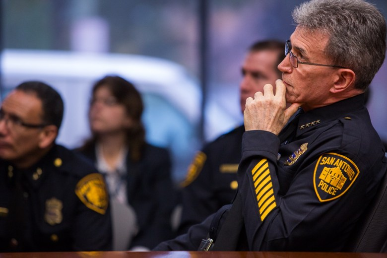 San Antonio Police Department Chief of Police William McManus observes a video clip from the television show Dateline. Photo by Scott Ball.