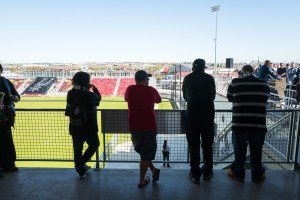 Fans look on during a press conference at Toyota Field. Photo by Scott Ball.