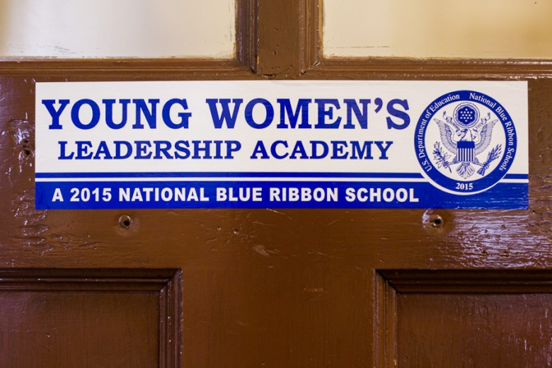 A bumper sticker touting the 2015 National Blue Ribbon School, the Young Women's Leadership Academy. Photo by Scott Ball.