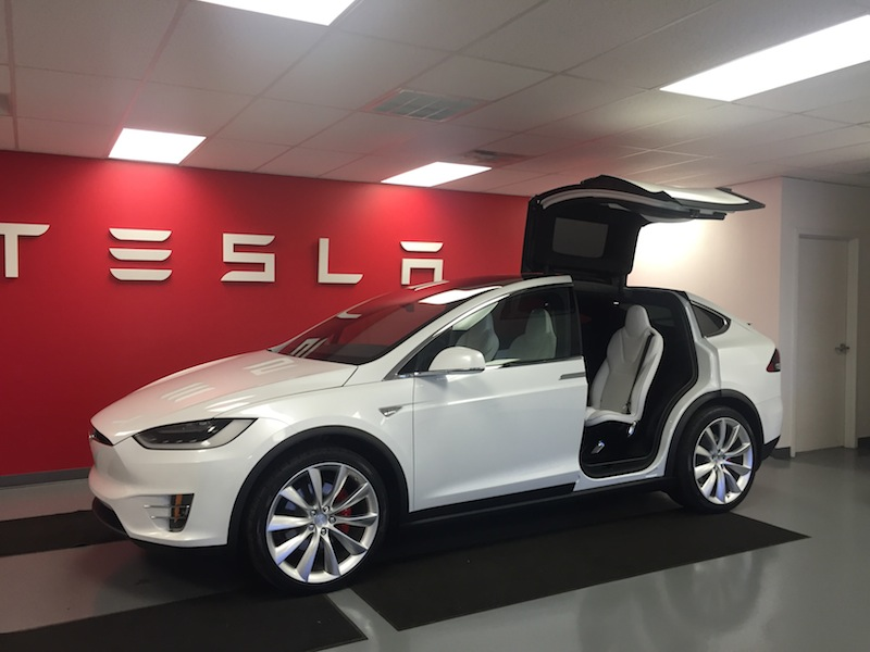 Tesla Model 3 in the showroom. Photo by Greg Papay.