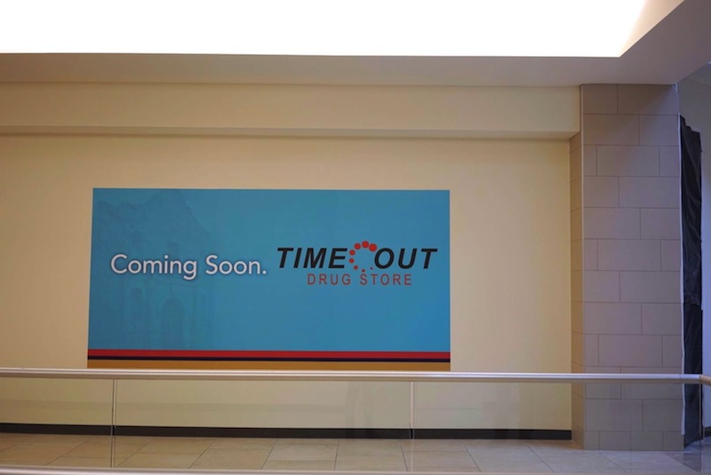 Time Out is opening a drug store and liquor store in the Rivercenter Mall. Photo by Iris Dimmick.