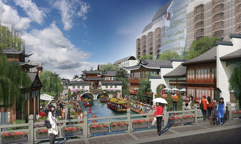New retail and hotel development in Nanjing, China. Rendering courtesy of Overland Partners.