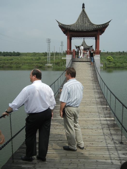 Tim Blonkvsit (left) and James Andrews (right) on an early business trip to China. Photo courtesy Overland Partners.