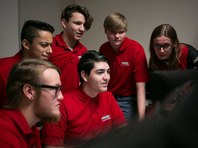 Information Technology & Security Academy (ITSA) senior team are tied for first nationwide for CyberPatriot, a cybersecurity competition for high school students. Photo by Kathryn Boyd-Batstone