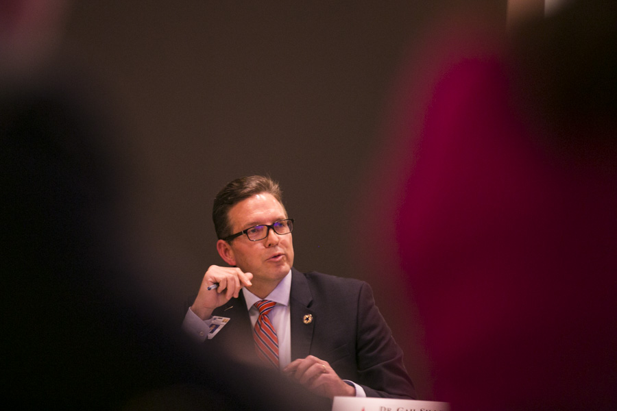 Greg Gibson, Superintendent at SCUC ISD, expressed concern testing accountability. Photo by Kathryn Boyd-Batstone